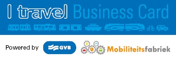I travel business card mark. Powered by GVB and Mobiliteitsfabriek.