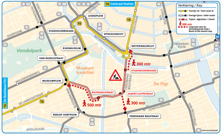 tram 16 diversion route